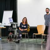 Siwan Alkerdi aus dem Projektteam mit Margaux Richet und Thaer Issa (Muslimisches Bildungswerk für Demokratie e.V. Erfurt) während des Seminars zum Modul 3 // Foto: Thomas Müller